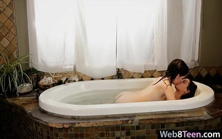 two gorgeous teenies private lesbo act in the