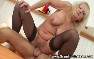 sexy granny riding younger weenie