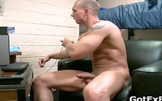 muscled str lad jerking his huge part2