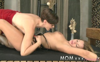 mommy lesbo milf with large meatballs kisses and