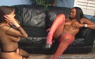 large titty darksome lesbos licking out cum-hole