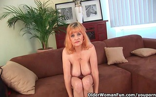 shaggy grandma with large whoppers has solo sex