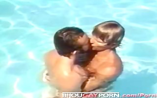 classic homosexual macho poolside sex from bullet