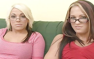 sexy interview with youthful geek lesbos