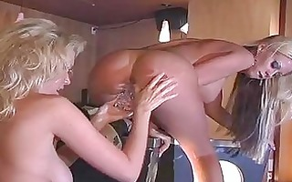 breasty blond lesbian babes playing with sex toys