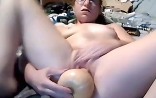 chubby aged babe copulates a massive toy