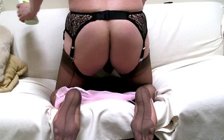 rear view, ff nylons and cum, ff soles also ...
