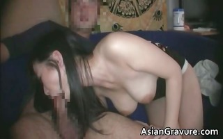 cute dark brown oriental chick with great part0