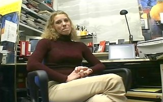 aged blond disrobes and masturbates in her office