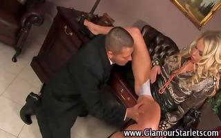 chic golden-haired acquires fingered
