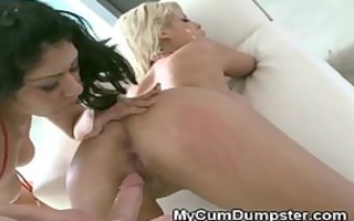 blond literally leaking cum while drilled at