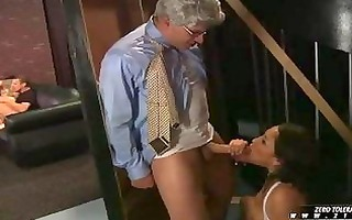 youthful black haired honey sucks older chaps dick