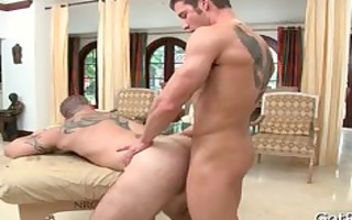 guy receives dong sucked during massage part0