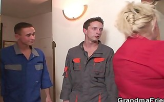 two repairmen fuck breasty grandma from one as