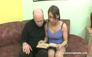 hot youthful bitch blows her aged trainer