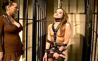 perverted brunette hair receives bound and