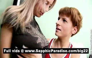 charming golden-haired and redhead lesbos giving