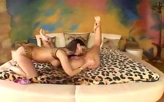 eve angel: breasty lesbian babes dildo slit
