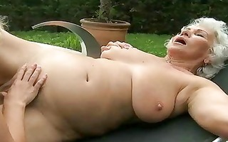 breasty grandma and juvenile gal have sex outdoor