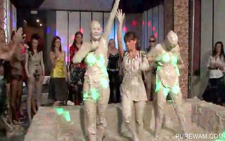 lesbian intimate party with beauties getting muddy