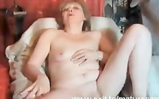 77 years granny louise fingering at home