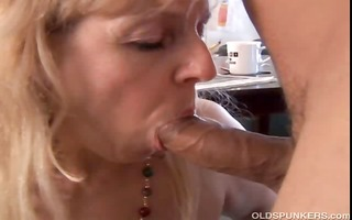 aged big beautiful woman gives a great oral