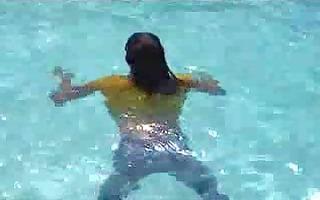 marjorie is getting juicy in her pool - outdoor