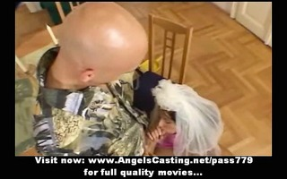 brown haired bride doing oral-stimulation