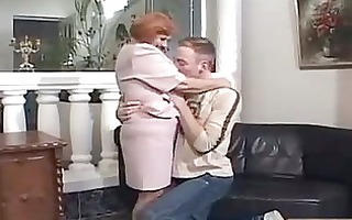 redhead granny open legs