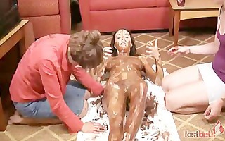 amber, mary and lily play disrobe rock paper