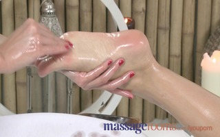 massage rooms cute golden-haired enjoys an oily