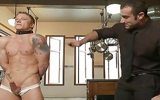tattooed muscled homo chap acquires fastened and