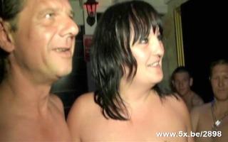 older team-fucked in a sauna club