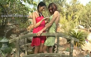 subtle angels licking pussies outdoors
