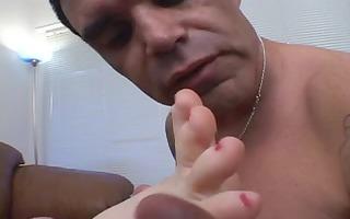 cute juvenile foot fetish darksome brown sucks