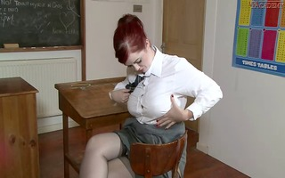 overweight lascivious school girl in nylons