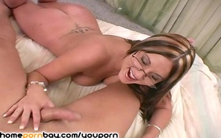 cute dilettante mother i in glasses jerking dick