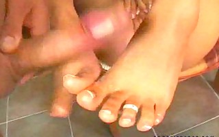 applying three-some foot cream!