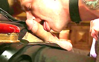 tattooed homo bondman acquires tied and gives his