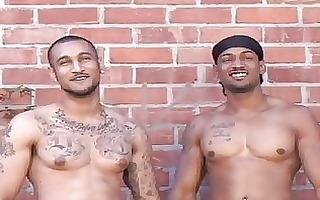 tattooed latin homosexuals posing nude outdoor