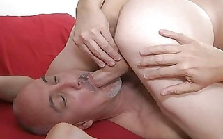 muscled homosexual and his aged dad licking balls