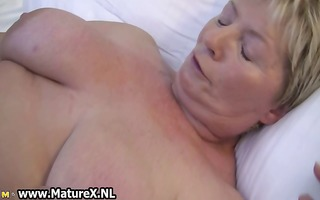 excited aged big beautiful woman wife likes