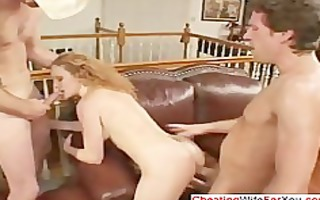 redhead floozy drilled by guys
