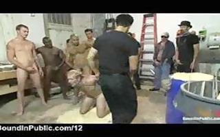 bound up gay mouth drilled by group of large