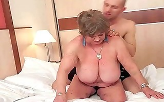 busty chubby grandma enjoying naughty sex