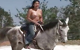 sweetheart from thailand riding a horse