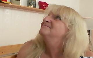old slut jumps on his lustful cock