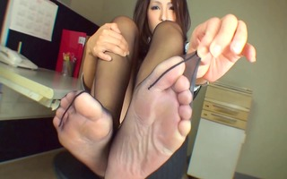 black hose foot tease 9