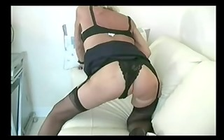 golden-haired underware granny fingering