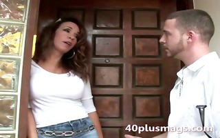 watch this lustful brunette housewife
